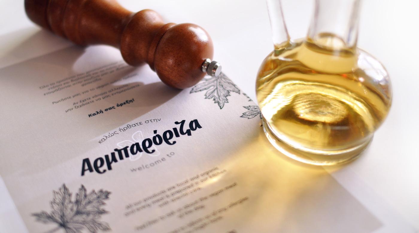 greek traditional restaurant amorgos business card menu catalogue local food branding