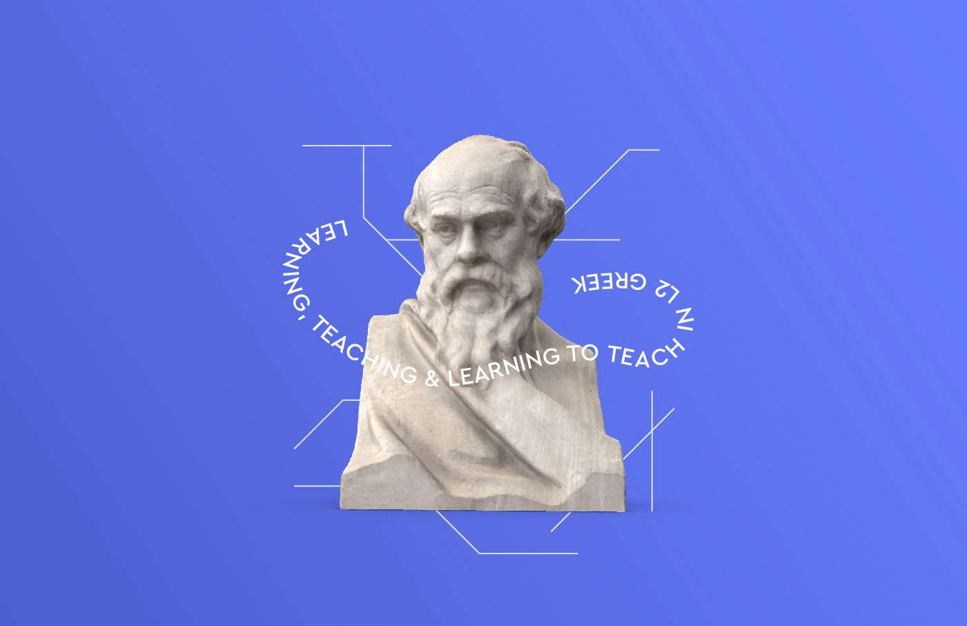 learning teaching greek research university logo design branding lines azure blue
