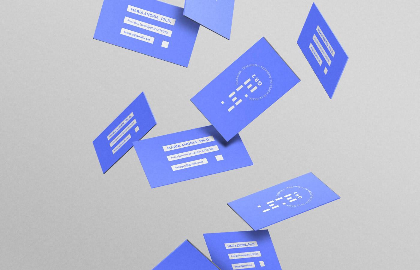 learning teaching greek research university logo design branding lines azure blue business cards