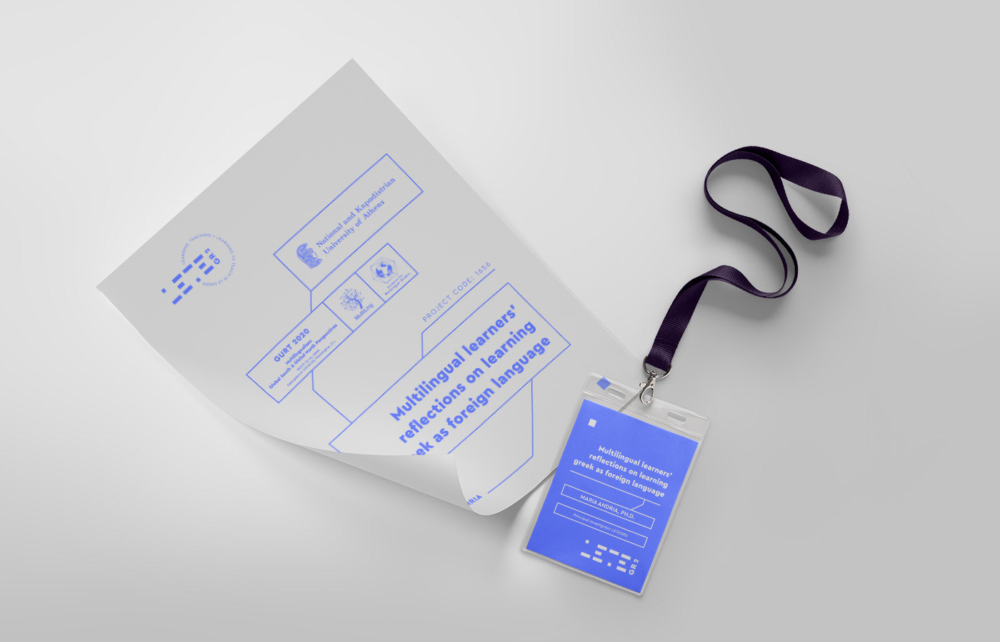 learning teaching greek research university logo design branding stationary conference credential tags