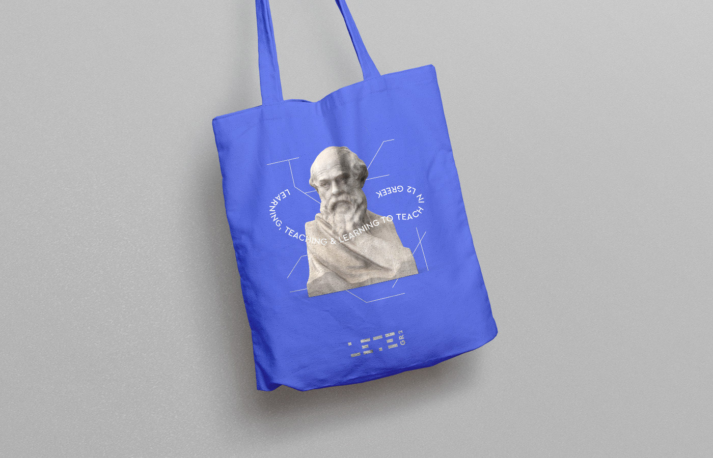 learning teaching greek research university logo design branding stationary cloth linen bag handbag