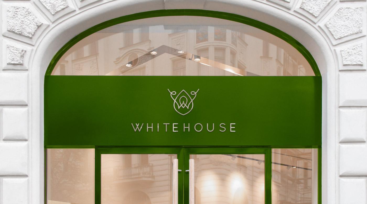 linen store logo design branding store front green rosegold