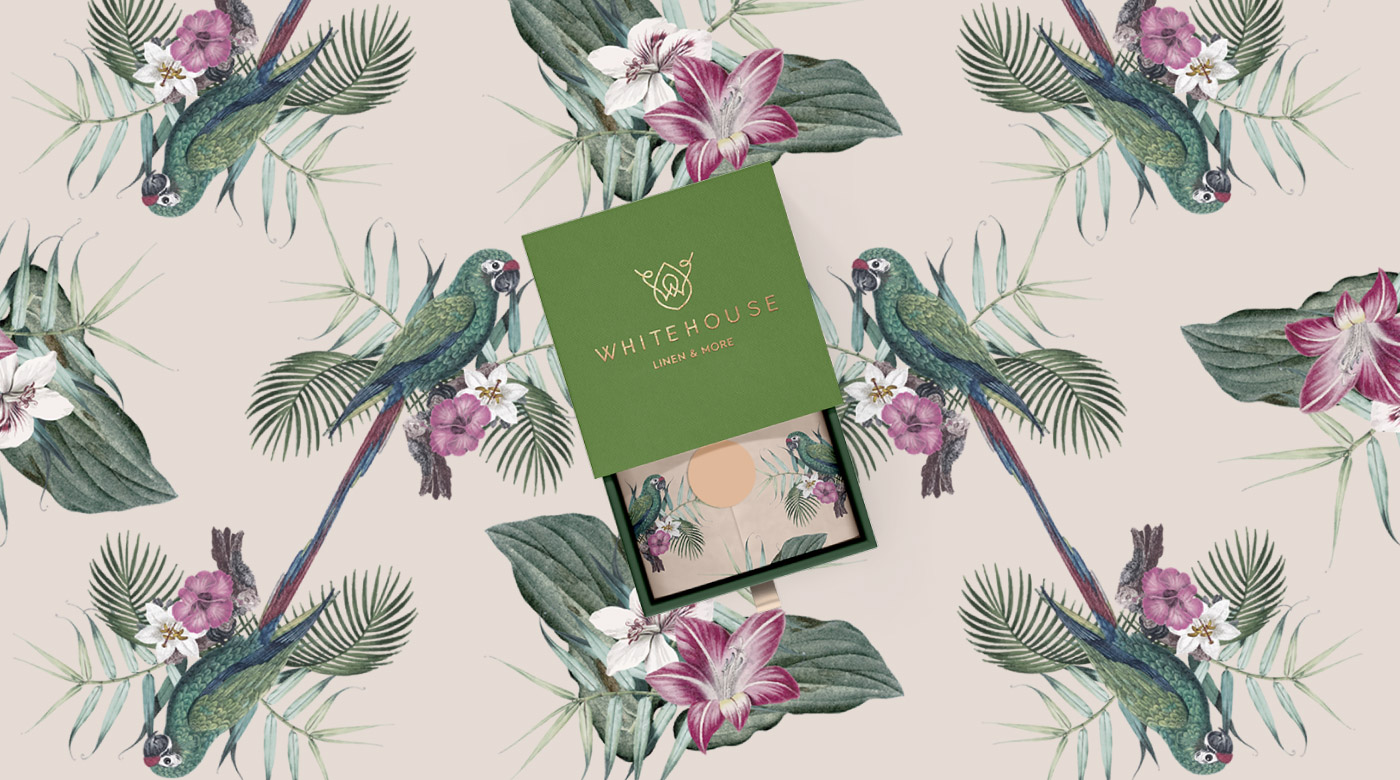 linen store logo design branding package floral tropical pattern
