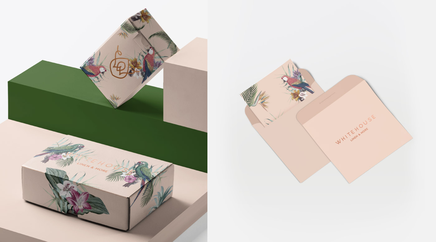 linen store logo design branding package floral tropical pattern envelopes card boxes