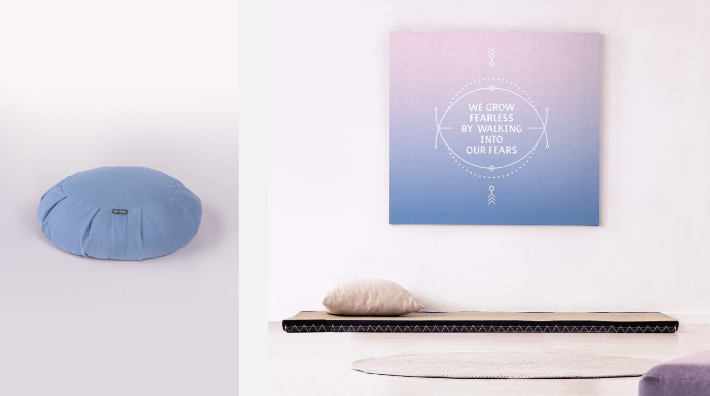 meditation studio branding sunset colors for energy flow serenity poster bed pillow