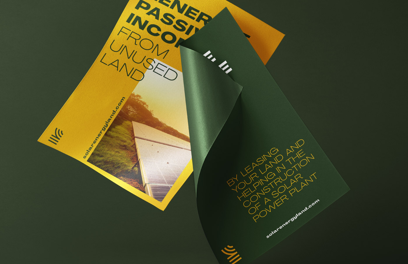 solar energy land branding logo design visual identity stationary sun green yellow poster