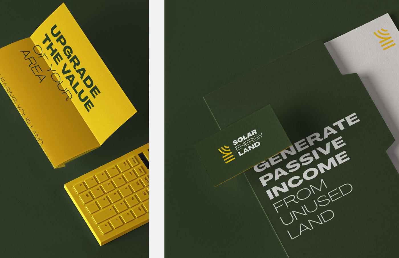 solar energy land branding logo design visual identity stationary sun green yellow