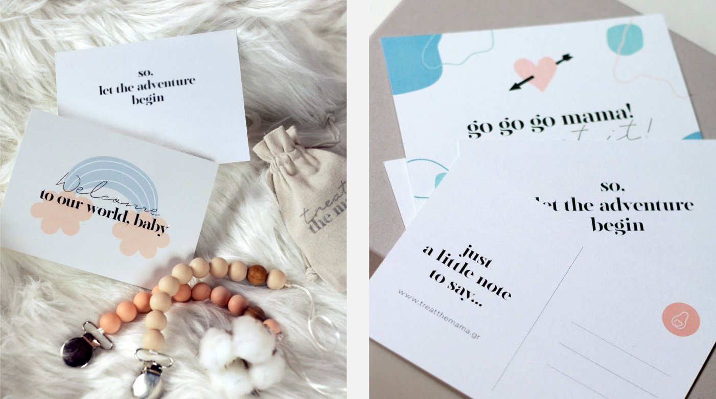 mama subscription box treat pamper pregnancy postcards giftcard branding pure love